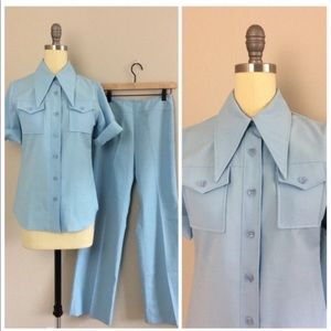 Vintage 1970s Baby Blue Western Two Piece Set